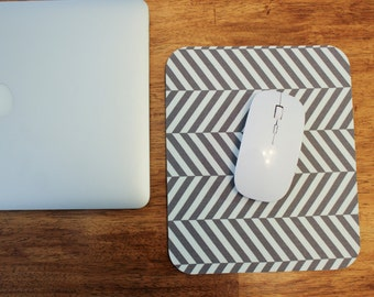 Gray and White Chevron Mouse Pad - Fabric Surface Mousepad - Office Decor