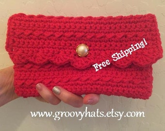 Petula 1960s-Inspired Red Crochet Clutch Bag - Free Shipping!
