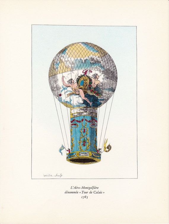 Vintage Balloon Print hot air balloon by FairlyVintagePrints
