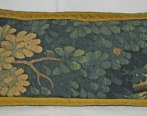 Long Antique Aubusson Verdure Tapestry Pillow - Cushion - 1700s