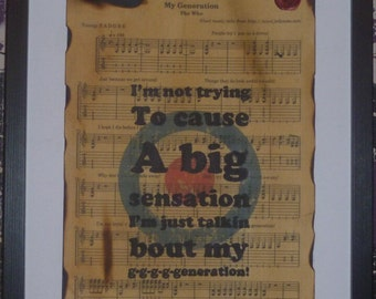 The Who, My Generation, sheet music art work, with legendary Mod target design, Typography art, song lyric art, song lyrics, A4/A3