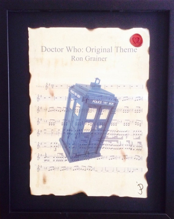 Doctor who Tardis image sheet music wall art Ron Grainer