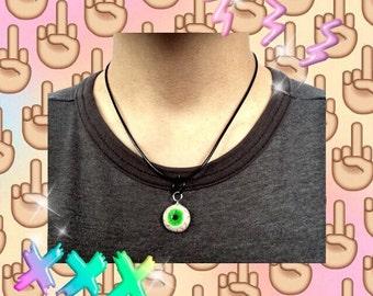 Green Eyeball Necklace, Creepy Cute Eyeball Necklace, Kawaii Eyeball Necklace, Human Eye Necklace, Eye Necklace
