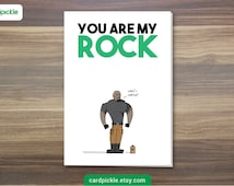 I Love You Card - You Are My Rock - The Rock - Happy Birthday - Happy Anniversay - Valentines Card
