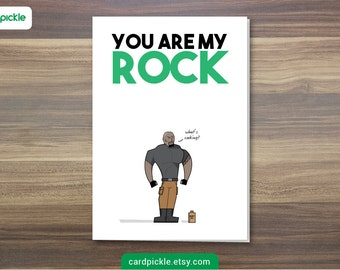 DOWNLOAD Printable Card - I Love You Card - You Are My Rock - The Rock - Happy Birthday - Happy Anniversay - Valentines Card