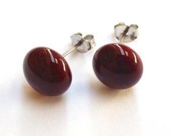 Dark Red Brown Glass Stud Earrings on titanium posts