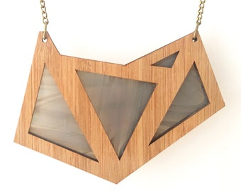Shades of Grey Foxface Wooden Pendant on chain