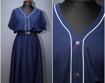 Vintage Dark blue summer- holiday dress with elastic waist/ Size L/XL