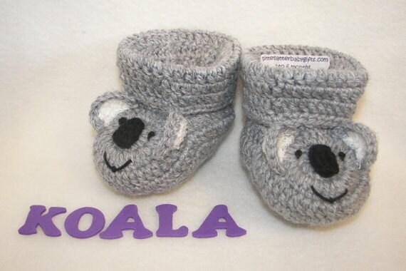 Crochet Baby Bear Booties Pattern : Crochet Pattern Baby Booties Koala Bear Instant Download