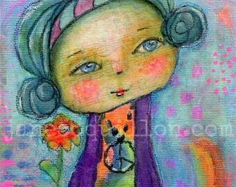 Retro Diva, original painting 7x5in, mixed media