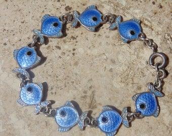Volmer Bahner ~ Vintage Sterling Silver and Blue Enamel Fish Link Bracelet