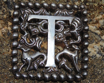 Fred Davis ~ Signed Vintage Mexican Silver Floral Initial T Pin / Brooch with Animals