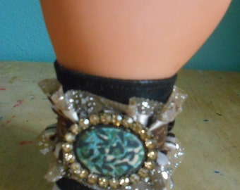 Handmade Fabric Bracelet, Ruffled Wrist Cuff, Size 6 to 7, Brown, Black and Turquoise Bracelet, Wide Cuff