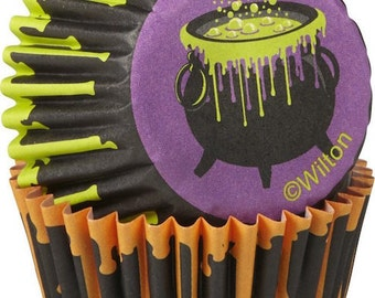 Drink Your Treat Wilton Mini Cupcake Liners Baking Cups Muffin Cups - Halloween Mini Cupcake Liners - Witch Cauldron Cupcake Liners