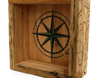 upcycled / reclaimed pitched pine cube shelf - compass nautical seaside screen print laser engraved