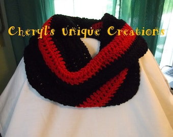 Thin Red Line - Firefighter/Fire Department - Hand Crocheted Thick and Chunky, Wide Cowl Infinity Scarf