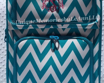 """Chevron Rolling Carry on 21"""" Luggage Personalized FREE Name or Monogram Great for Graduations, Birthdays, Christmas, Bridesmaids & Children"""