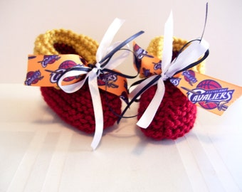 Cleveland CAVALIERS Basketball Fans!! Handmade Baby Booties