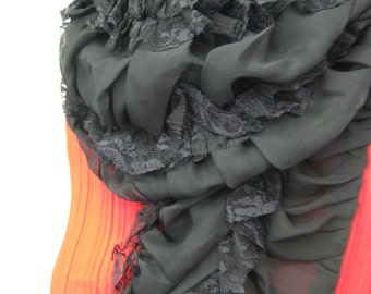 OOAK Ruched Chiffon Scarf With Lace Accents