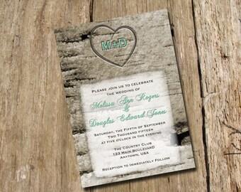 Birch Tree Initials Engraved Wedding Shower Invitation, Digital Printable File