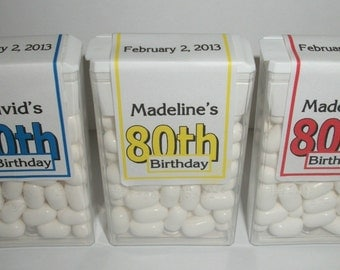 28 ~ 80th Birthday Party Favors Tic Tac Labels ~ Free Shipping