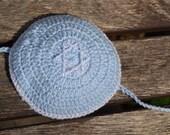 Cotton Baby Boy Yarmulke/Kippah/Kippa Crochet for Bris with chin strap in Baby Blue