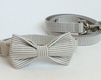SALE Khaki Seersucker Collar and Leash Set, Wedding Set, pet bow tie, collar bow tie, wedding bow tie