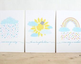 Rain...Sunshine... Rainbows, Set of 3 A4 Prints, Nursery Rhymes, Nursery Art, Rainbows, Children's Room Wall Art