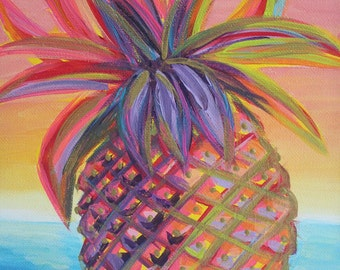 Bellini Pineapple / Acrylic painting 9x12 on canvas with hints of gold