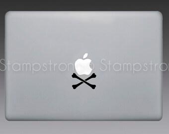 "Crossbones V2 decal sticker for MACBOOK pro mac laptop size 13"" 15"" Skull Pirate Apple"
