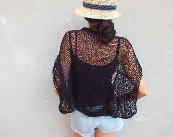 Black Shrug Summer Shrug Loose knit cotton summer shrug Beach cover up