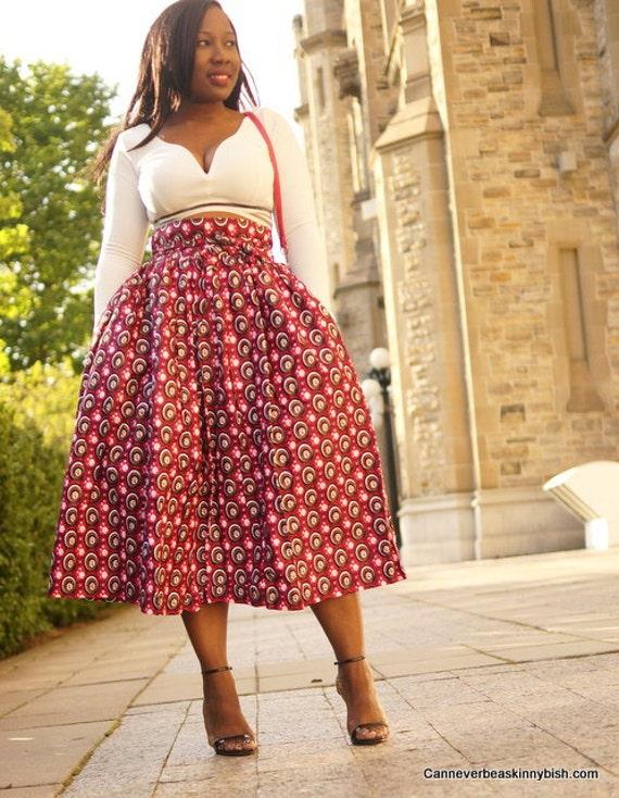 pink ankara high waist skirt with bow by