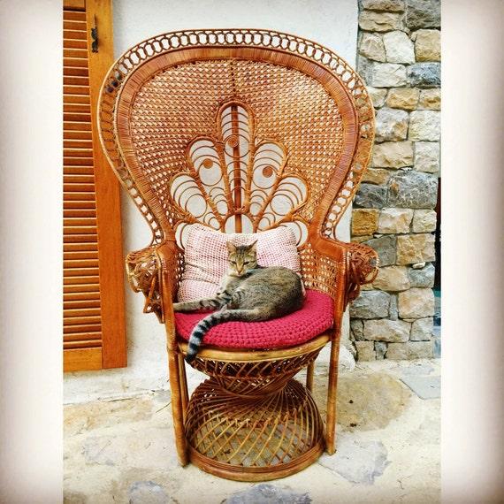 fauteuil emmanuelle vintage rotin osier et son coussin crochet. Black Bedroom Furniture Sets. Home Design Ideas