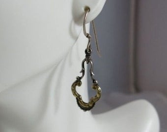 Vintage Sterling Silver Gold Nugget Earrings