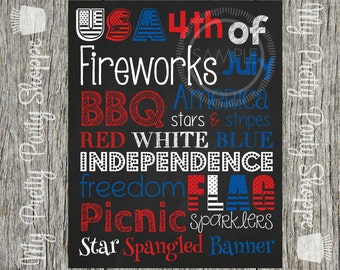 8x10 4th Of July Subway Art Party / Independence Day / Fireworks / Red White & Blue Printable Sign *INSTANT DOWNLOAD*