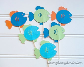 small fish cake toppers, goldfish cake toppers, guppy fish toppers, goldfish birthday party, guppy birthday, pool party, aquarium party