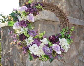 Spring Wreath, Summer Wreath, Door Wreath, Purple Wreath, Easter Wreath, Mothers day Wreath