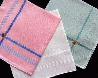 Vintage cotton handkerchief, set ot three