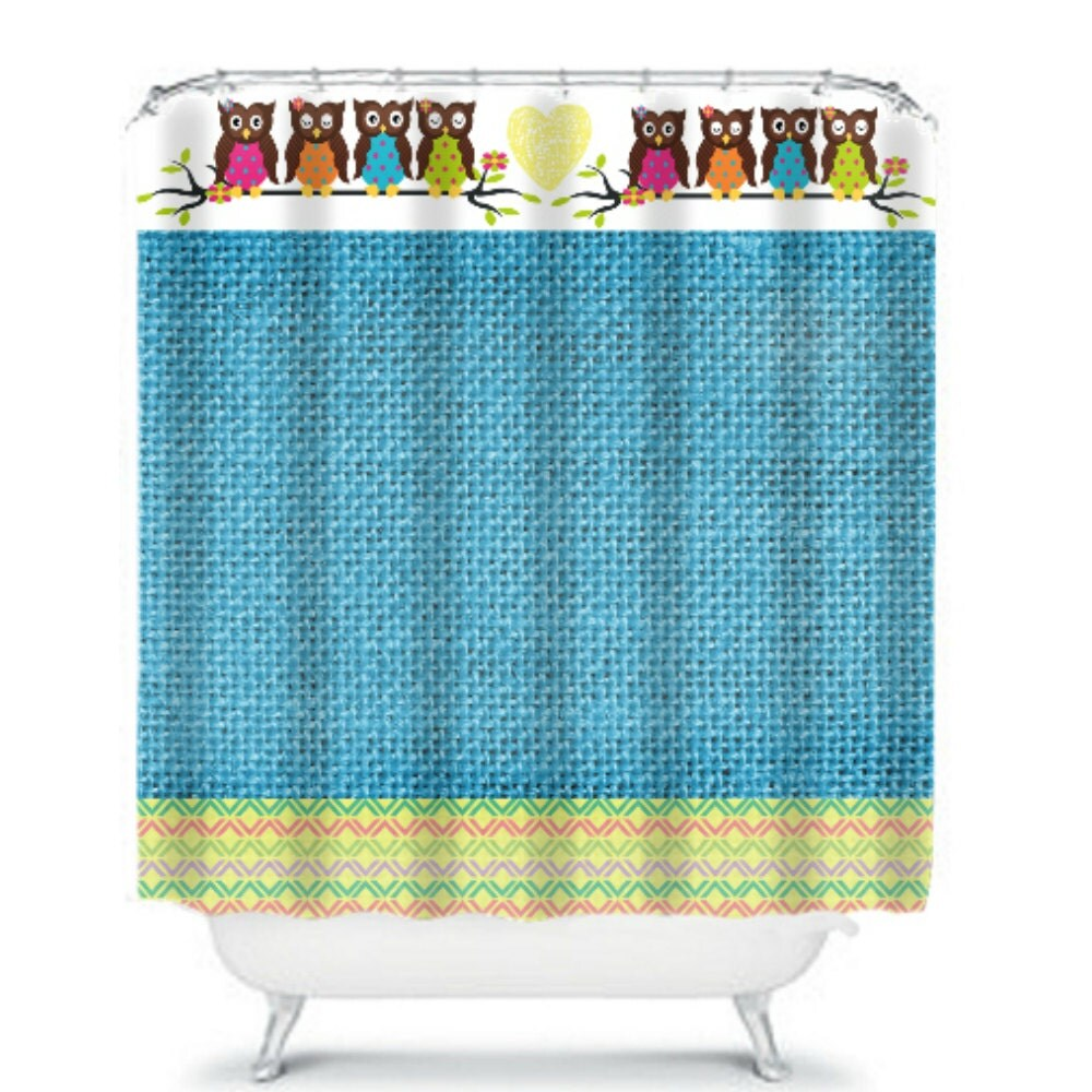 Owl Shower Curtain Blue Burlap Design By Folkandfunky On Etsy