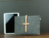Beige naturel étui à ipad, iPad Air taille faite sur commande de manchon, couverture, couvre en feutre et cuir naturel, embrayage minime