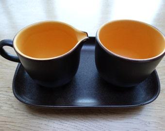 Vintage sugar and milk set in dark brown and orange, Sphinx Holland