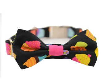 Dog Collar and Bow Tie Set,Cupcake,Fabric 254,1 inch wide