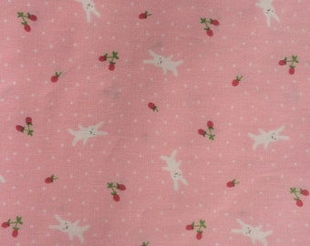 Half Yard- D's Selection DH11989S  Produced By Fumika Oishi- White bunnies/rabbits and tiny strawberries Pink Background-Made in Jpn