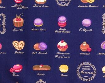 Half yard- Small print of Petit Gâteau / Macaron - Dark Navy background - Cotton