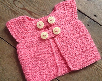 Crochet Baby cardigan in soft coral with wooden button detail ~ baby girl cardigan ~ baby cardigan ~ baby jacket ~ newborn cardigan