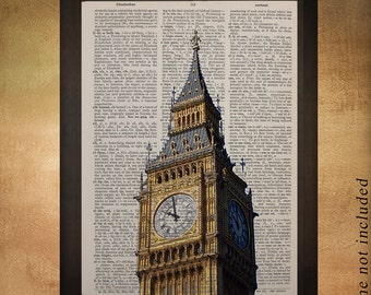 London Big Ben Dictionary Art PrintArchitecture England UK Britain Tower Building Travel Gift Ideas da782