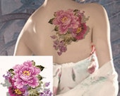 Large 3D Chinese peony flowers temporary tattoos Shoulder Lower Back Waterproof temporary tattoos sticker sexy women men