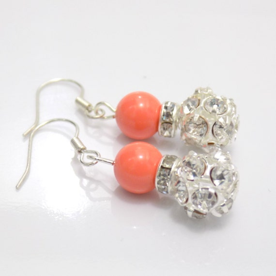 swarovski coral pearl earrings swarovski by justjewelry4life