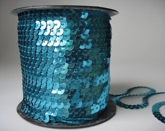 5Yards 1/4inch Aqua Sequin Trim Metallic Sequin String 18colors