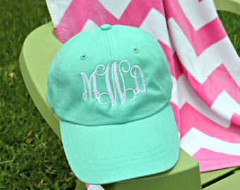 Monogrammed Baseball Cap Monogram Hat with Cool Mesh Lining and Adjustable Leather Strap Bridal party or Big Little gift